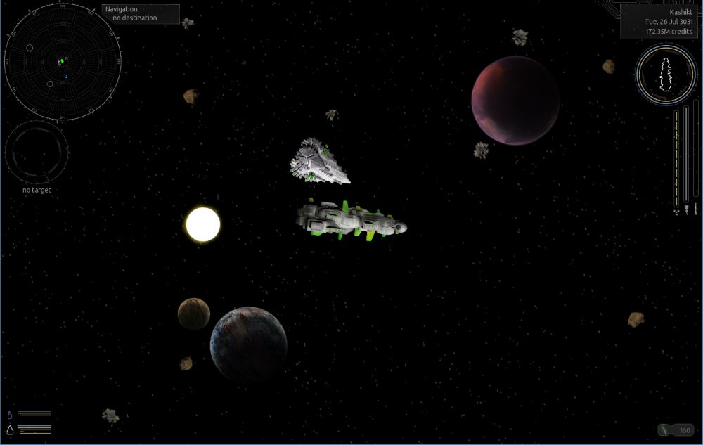 Two of my favorite ships picking up fuel for a jump to hyperspace.